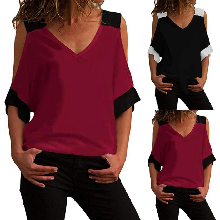feitong Blouses & Shirts Women Casual Short Sleeve Cold Shoulder V Neck Summer Loose Shirt Blouse Tee Femme Tops blouse