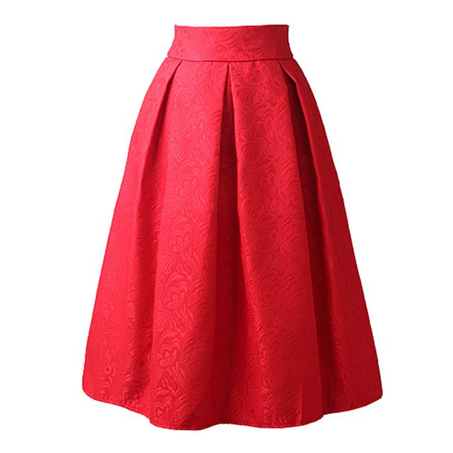 New Faldas 2016 Estilo Verão Vintage Saia de Cintura Alta de Trabalho desgaste Midi Saias Da Forma Das Mulheres preto vermelho azul Jupe Femme Saias