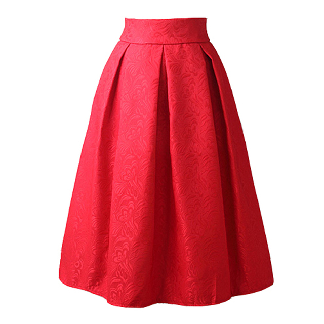 New Faldas 2016 Summer Style Vintage Skirt High Waist Work Wear Midi Skirts Womens Fashion red blue black Jupe Femme Saias
