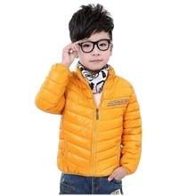 Зимние Мальчики Девочки 100 Хлопок Твердые Теплые Куртки Дети Водолазка Одежда Зимние Пальто Orange Green