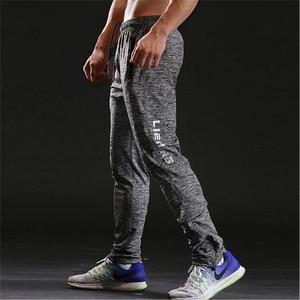 Image 2 - Новинка, мужские спортивные штаны для фитнеса, тонкие серые спортивные штаны для бега, мужские повседневные брюки, мужские спортивные штаны для бодибилдинга