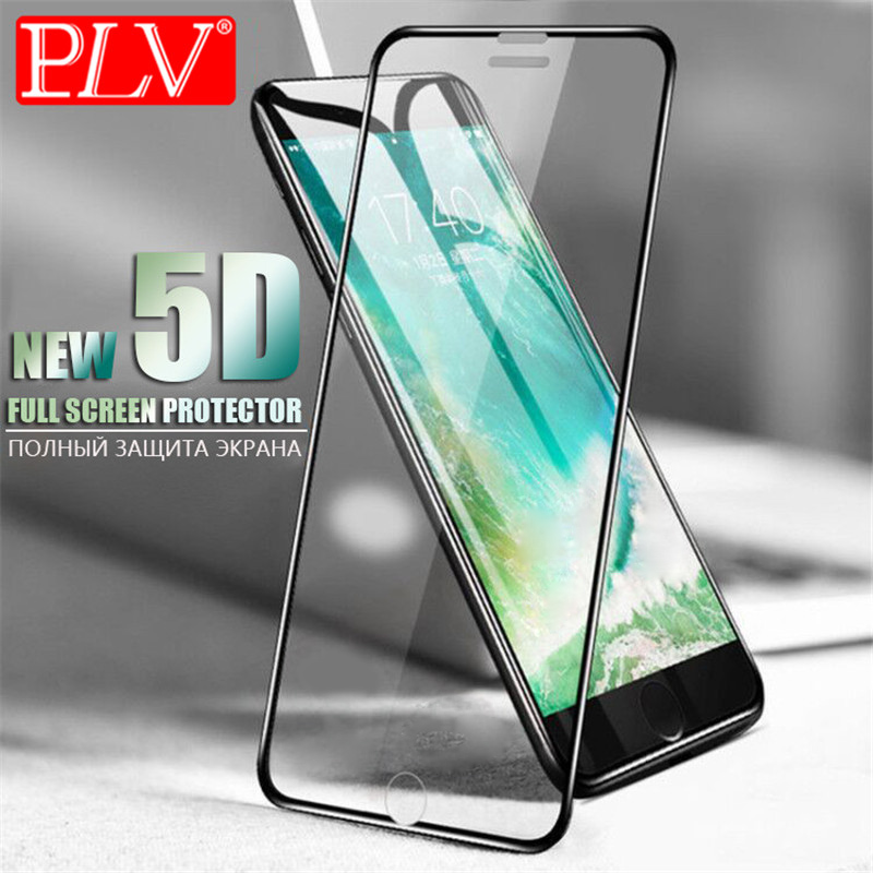 PLV 5D Aluminum Alloy Tempered Glass For iPhone 6 6S 7 Plus Full Screen Protector Protective For iPhone X 8 5 SE 5s Glass Cover premium tempered glass flat edge screen protector for iphone 5 transparent