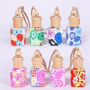 Image 3 - Botella vacía de vidrio + arcilla polimérica para Aroma de coche, botella de aceite esencial para coche, colgante artesanal, con tapa de madera, 50 unids/lote