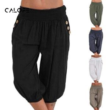 CALOFE Plus Size Women Pants Half Short Capris 2019 Casual Bottoms Elastic Vintage Fat MM Loose Trousers Brand New Harem Pant
