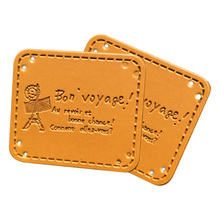 Hand-Made Clothing Leather Labels Natural Hat Tag Sewing-Tags with Paris-Tower for Gift