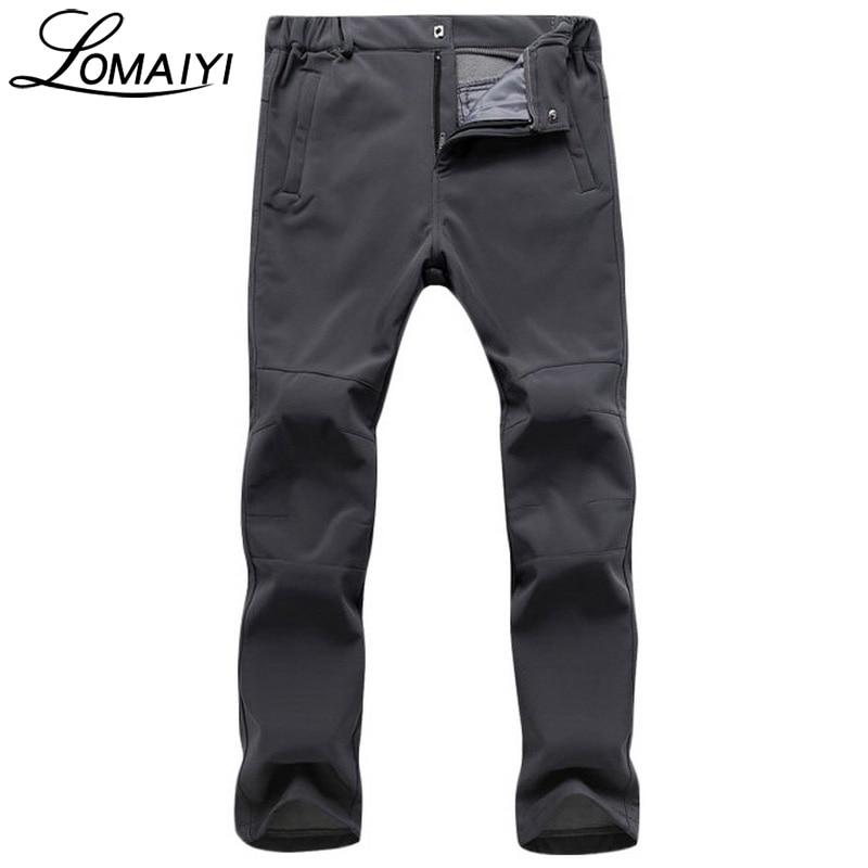 LOMAIYI Fleece Lining Causal Pants Men Warm Waterproof Snow Work Trousers Winter Khaki Shark Skin Softshell Men's Pants,AM120