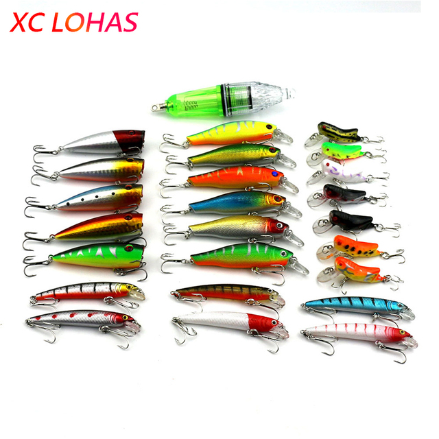 Super Deal 25Pcs Fishing Lures Set with Underwater LED Lure Lamp Popper Minnow Grasshopper Artificial Fishing Lure Bait On Sale