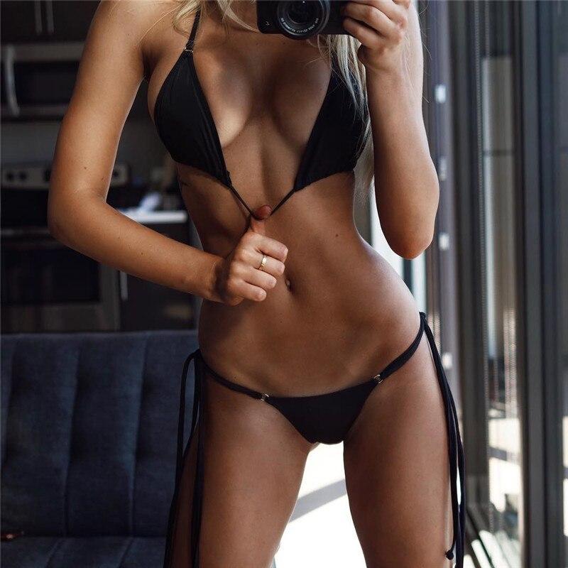 Bikini Swimwear Bathing Swimsuit Bikini Set - Thong Bottom Vintage Female Beachwear With Pad