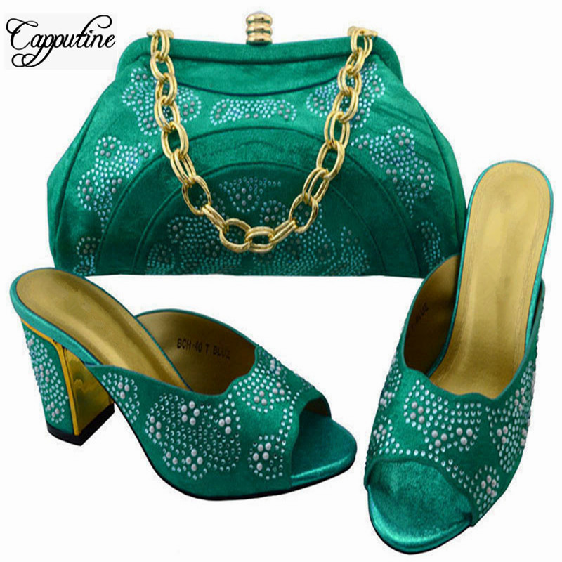 Capputine New Fashion Shoes And Bag Set For Party Usage New Italian High Heels Ladies Teal Color Shoes And Bag Set BCH-40 capputine new arrival woman shoes and bag set nigerian design high heels shoes and bag sets for party free shipping bch 40