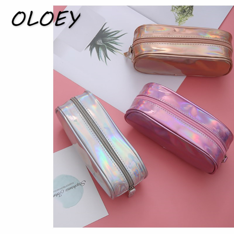 Women's Laser Cosmetic Bag Holographic  Make Up Pencil Case PU Handbag  Portable Pouch Toiletry Wash Box!