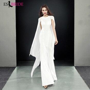 Simple Elegant Vestidos De Fiesta De Noche Sleeveless Muslim Evening Dress Robe De Soiree Evening Dresses Evening Gown ES1938