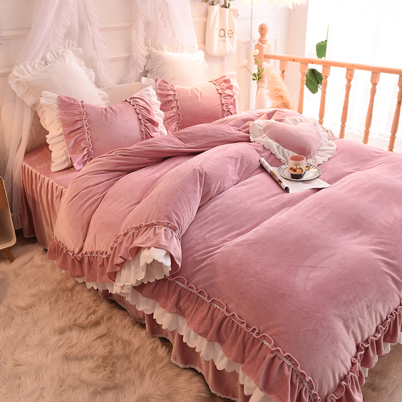 Pink Bedding Set Luxury King Queen Twin Bed Set Velvet Warm Duvet Cover Set Bedspread Pillowcase Girls Bed Sets Princess StylePink Bedding Set Luxury King Queen Twin Bed Set Velvet Warm Duvet Cover Set Bedspread Pillowcase Girls Bed Sets Princess Style