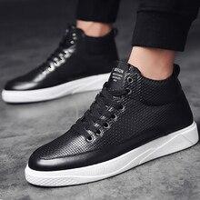 Men sneakers high top microfiber designer plaid platform shoes for men vulcanize shoe high quality male tennis mesh