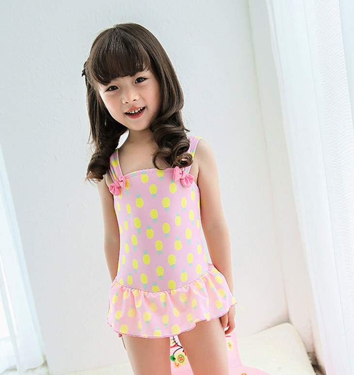 retail cute pineapple Girls Bathing Suits 2016 New Child Ruffled Swimwear For Kids Girl one-piece Skirt type Swimsuit