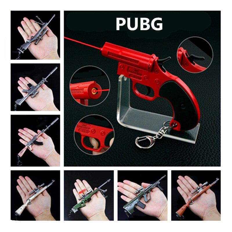 Jeu PUBG Playerunknown champ de bataille accessoires Cosplay 18 Style fusil de Sniping pistolet métal porte-clés pendentif jouet 6 pièces/ensemble en gros
