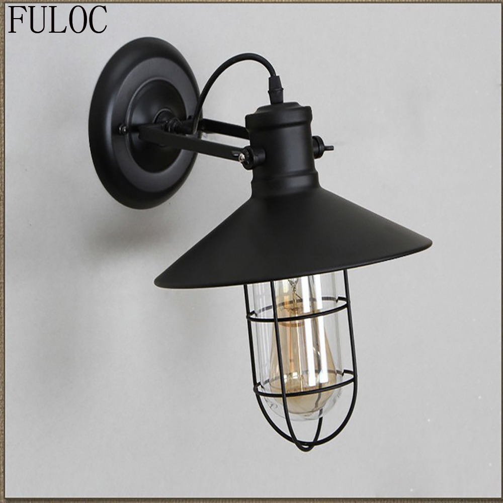 Fuloc vintage plated industrial wall lamp retro loft led wall light pared stair bathroom iron wall sconce