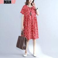 DIMANAF Plus Size Summer Style Dress Women Linen Floral Female Casual Dress Beach Midi Sweet Loose