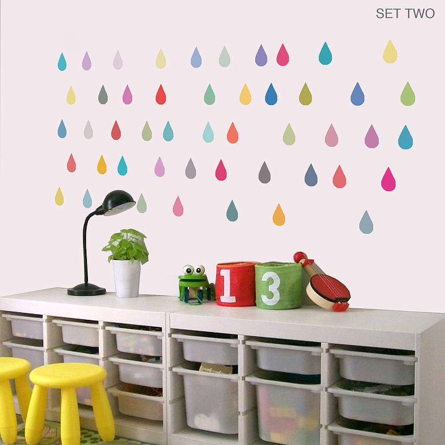Colorful Raindrop Vinyl Wall Stickers Removable Personalized Color Raindrop Wall  Sticker For Children Room Hot Sale Sticker 712P In Wall Stickers From Home  ...