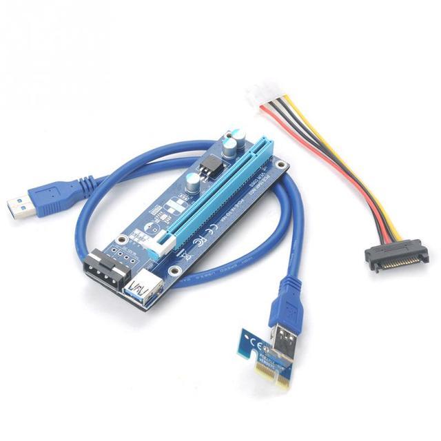 PCIe PCI E PCI Express Riser Card 1x to 16x USB 3.0 Data Cable SATA ...