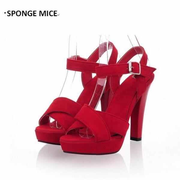 sale retailer 624f8 d12d7 US $9.74 25% di SCONTO Grandi Dimensioni 35 45 Scarpe Tacco di Spessore  delle Donne Brandnew Super Tacco alto Sandali Romani Scarpe Fibbia Blu Navy  ...