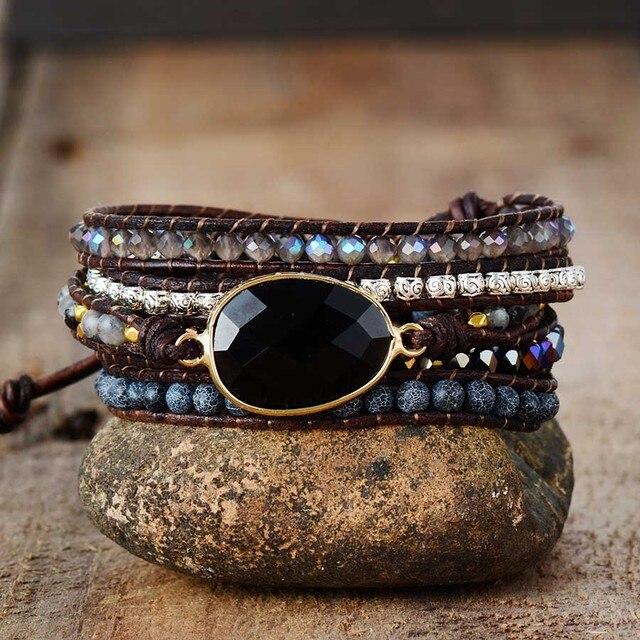 Native Inspired Designer Leather Bracelet Black Onyx Mix 5 Strands Woven Wrap Bracelets Bohemian Bracelet Dropship