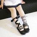 Novas meninas de couro casual shoes silk lace-up girls shoes não-slip crianças flats ballet shoes 2-5 t frete grátis
