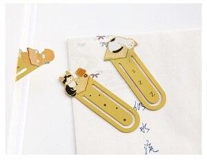Image 3 - 12 sztuk/partia Metal żelaza zakładki do książek Cute cat zakładki spinacz biurowe akcesoria biurowe szkolne A6130