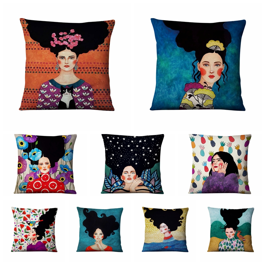 Modern Painting Girls Thin Linen Pillowcase Home Decoration Pillow Art Cushion Decorative Pillows Home Decor Sofa Throw Pillow