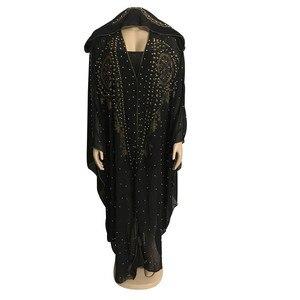 Image 2 - Kralen Afrika Kleding Afrikaanse Jurken Voor Vrouwen Moslim Gewaad Lange Jurk Hoge Kwaliteit Lengte Mode Afrikaanse Jurk Lady