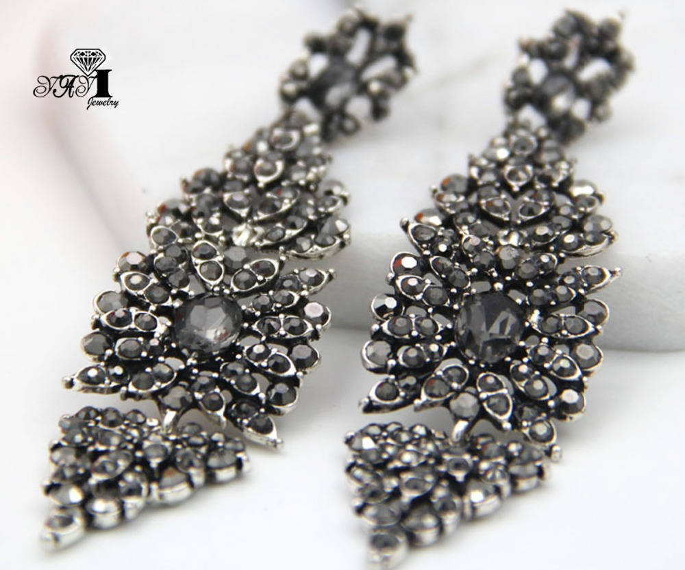 YaYi Jewelry Gray Glass  Rhinestone Dangle Crystal Earring Women's Fashion Ancient Silver Color Gem Long Earrings Gift 1266