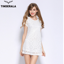 TINDERALA 2017 Fashion Female Summer Style A-Line Short Sleeves Dress Summer Women Hollow Out Lace Sexy Dress