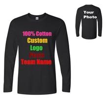 Camisetas De Hombre con Logo personalizado de manga larga sólida ropa  Masculina Simple cuello redondo Camiseta de algodón puro H.. 7944ba67ec627