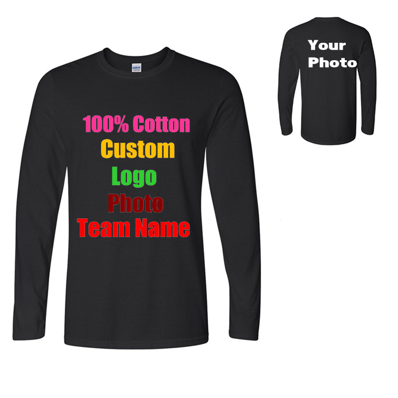Custom Logo Men   T     Shirts   Solid Long Sleeve Clothes Simple Solid Masculina O Neck Tee   Shirt   Homme Pure Cotton Customized 2018
