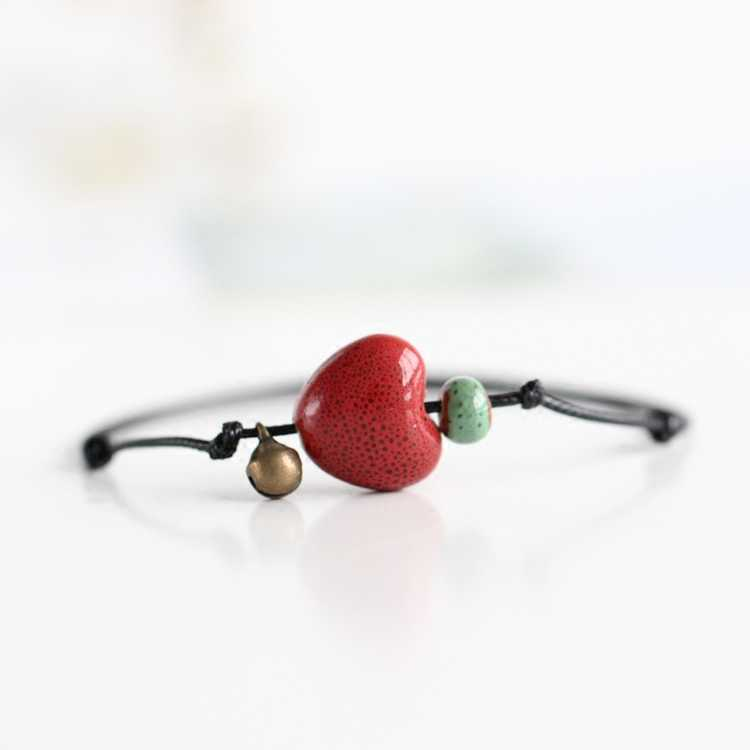 Creative fashion handmade heart ceramic anklets small jewelry national wind parts free shipping #1322