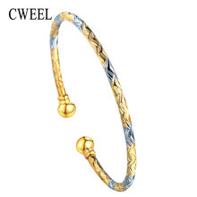 CWEEL Women Bangle Bracelet Gold Silver Color Party Dubai Indian Wedding Copper Cuff Bracelets Female Jewelry Classic Bracelets(China)