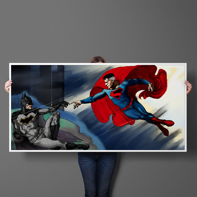 Funny Art Creation Of Adam Batman And Superman Canvas Painting ...