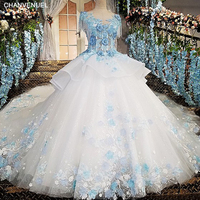 LS00170 Ivory Evening Dress With Blue Lace Flowers Online Shop China Vestidos De Noiva 2017 Robe