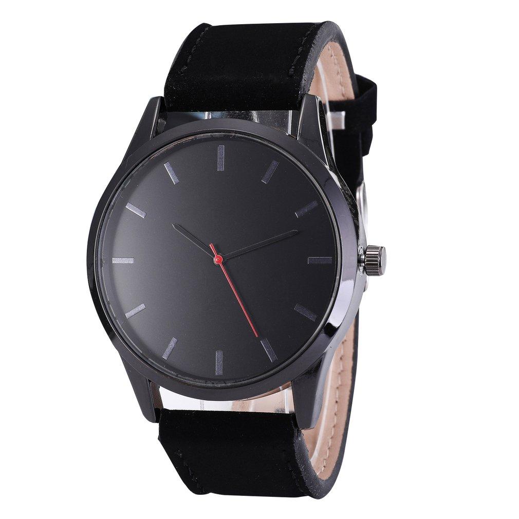 No Calendar Matte Belt Men'S Watch Men'S Fashion Business Big Round Luxury Elegant Watch Leather Strap Quartz Sports Watch