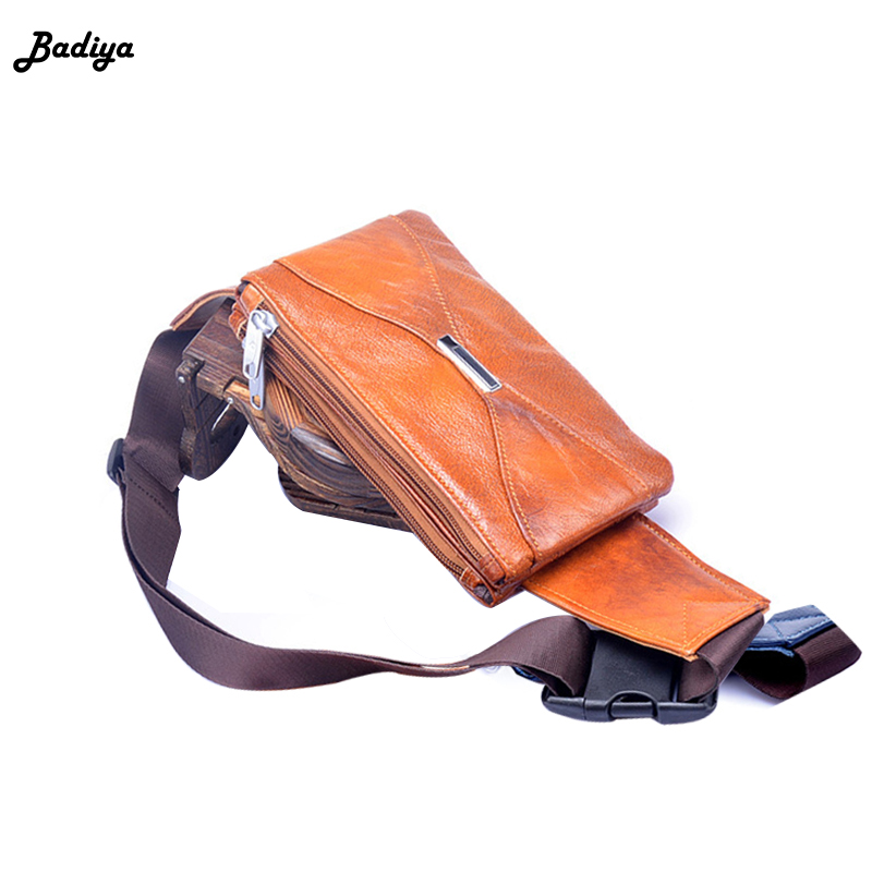New Unisex Genuine Leather Waist Bag Zipper Belt Bag Solid Color Fanny Packs Travel Belt Wallets Vintage Mini Bags Phone bags