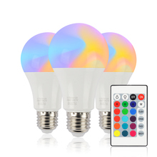 E27 Colorful LED Bulb 10W RGB + White 16 Color Dimmable Light Bulbs AC85-265V Changeable With Remote Control