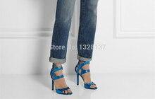 Blue Women Pumps Heels Platform Cut Outs Women's Summer Shoes Leather Shoes Platform Pumps Sapatos Femininos Sandals Size 44