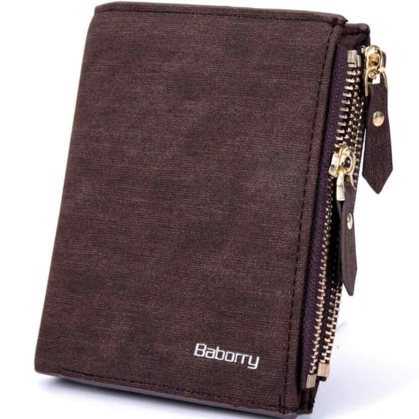 Baborry RFID защиты Для мужчин бумажник из сплошной мягкой полиуретановый Кошелек для монет держатель для карт короткие кошельки дизайн тонкий кошелек для Для мужчин Geldbeutel Herren