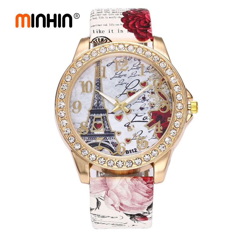 MINHIN Boho Leather Band Wrist Watches Eiffel Tower Design Women's Quartz Watch Rhinestone Gold Watches Fashion Smart Watch