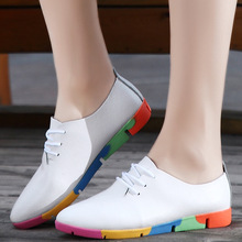 Flats Women 2016 New Womens Genuine Leather Fashion Style Casual Plus Size Loafers Shoes Lace-up Pointed Toe Black White
