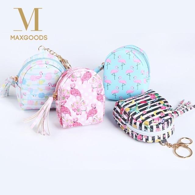 f1f412f78 Lindo bolso Flamingo en forma de llavero moneda monedero cremallera pequeña  cartera llavero personalizado bolso colgante