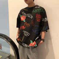 Short sleeve T shirt Men Hip hop Harajuku Tops O neck Black White Solid color Handsome Loose Tees