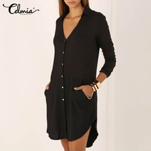 Women Shirt Dress 2018 Spring Button Dress Irregular Hem V Neck Long Sleeve Mini Dress Women Clothes Long Tops Black White