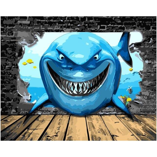 3d Seascape Lukisan Ikan Hiu Biru Laut Bawah Air Cat Gambar Dengan