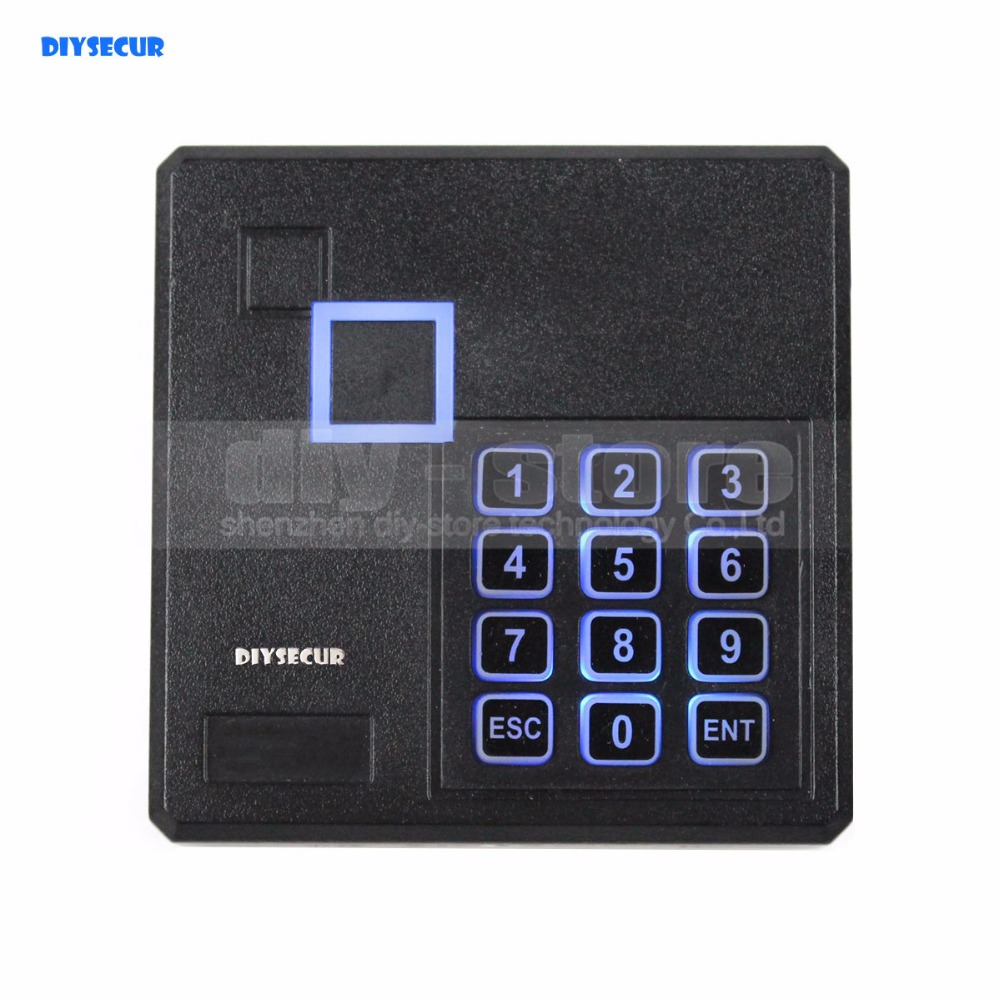 DIYSECUR Black Waterproof 125KHz ID Card EM4100 Reader Wiegand 26 Access Control Keypad RFID Reader 103A