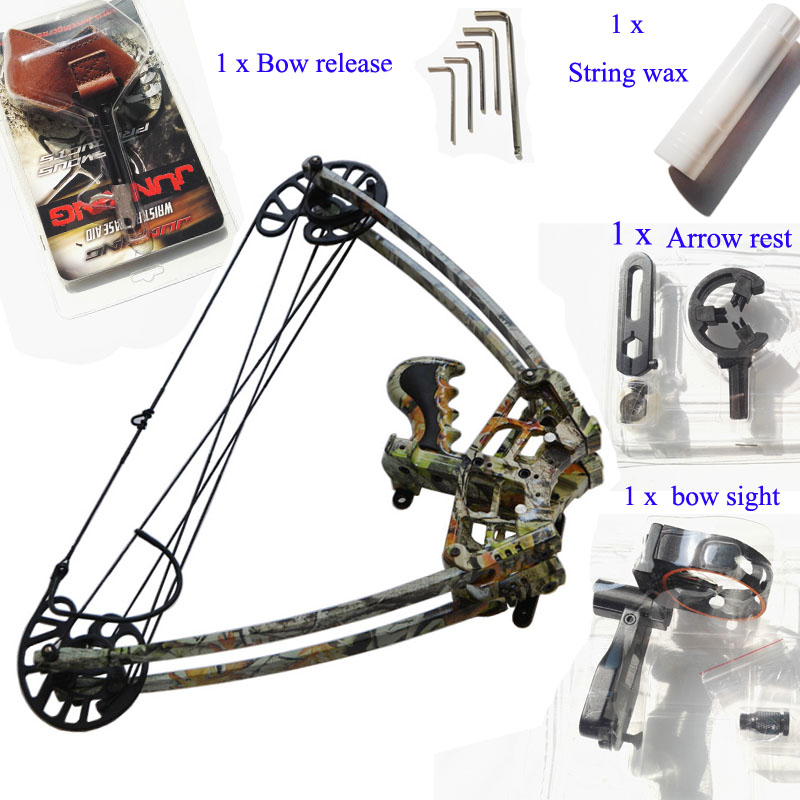50lbs Archery Triangle bow Camo Color Compound bow 1 Unit Triangle bow for left and right hand Hunting 50lbs archery compound bow left right handed for hunting target shooting competition sport slingshot bow camouflage black color